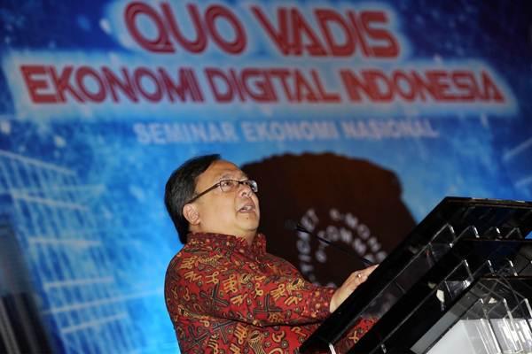 Menteri PPN/Kepala Bappenas Bambang Brodjonegoro memberikan materi saat menjadi pembicara Seminar Ekonomi dengan tema Quo Vadis Ekonomi Digital Indonesia, di Jakarta, Rabu (21/2/2018). - JIBI/Abdullah Azzam