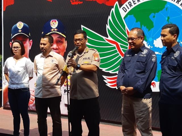 Konferensi pers di Ditresnarkoba Polda Metro Jaya, (30/7 - 2019). Rayful Mudassir