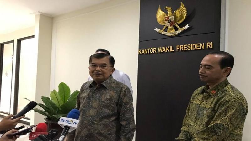 Wakil Presiden Jusuf Kalla di Kantor Wapres Jakarta, Selasa (30/7/2019). - Antara