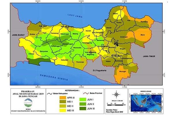 Peta prakiraan awal musim kemarau di Jawa Tengah. (Antara/BMKG)