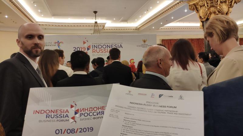 Suasana Forum Bisnis Indonesia-Rusia 2019 yang mempertemukan para pengusaha Indonesia dengan pebisnis Rusia di Moskow, Rusia, Kamis (1/8/2019). - Dok. Twitter KBRI Moskow @kbrimoskow