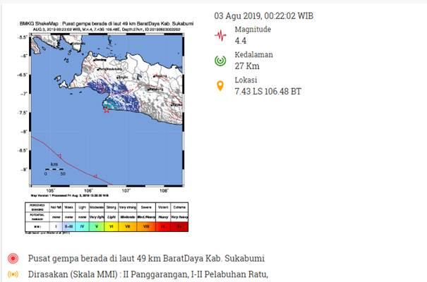 Peta Gempa Sukabumi - bmkg
