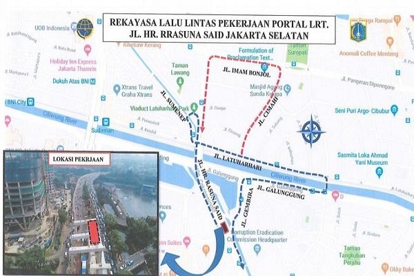 Rekayasa Lalu Lintas di Rasuna Said Jaksel sebagai dampak pekerjaan proyek LRT Jabodebek Cawang-Dukuh Atas - TMC
