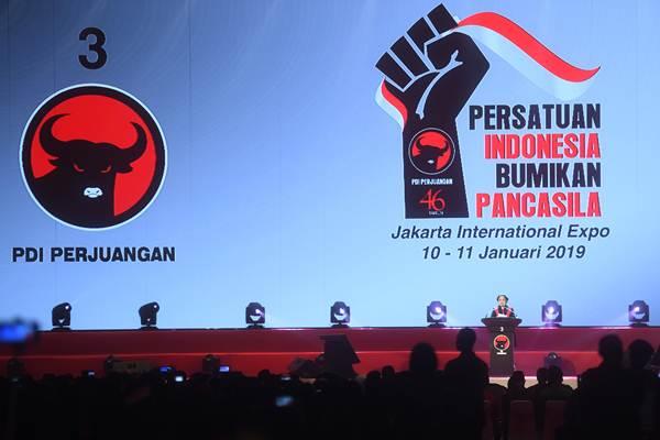 Ketua Umum PDI Perjuangan Megawati Soekarnoputri menyampaikan pidato dalam peringatan HUT ke-46 PDI Perjuangan, di JIExpo Kemayoran, Jakarta, Kamis (10/1/2019). - ANTARA/Akbar Nugroho Gumay