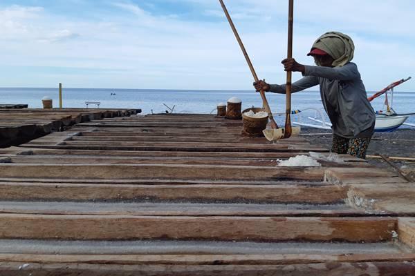 Petani garam memanen garam menggunakan alat tradisional. - BISNIS/Feri Kristianto