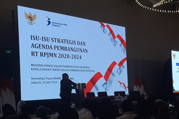 Bappenas menggelar Konsultasi Publik Rancangan Awal Rencana Pembangunan Jangka Menengah Nasional 2020-2024 di Hotel Double Tree, Jakarta, Rabu (24/7 - 2019).