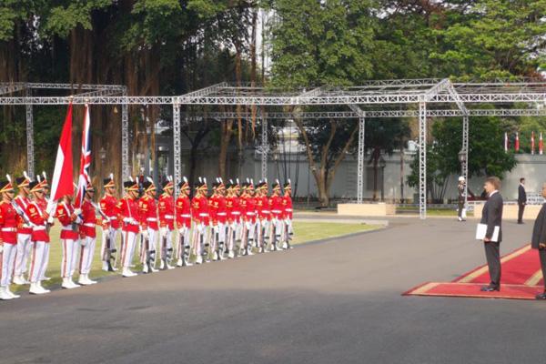 Suasana prosesi penyerahan surat kepercayaan dubes negara sahabat di halaman Istana Merdeka Jakarta, Rabu 7 Agustus 2019./Antara - Agus Salim