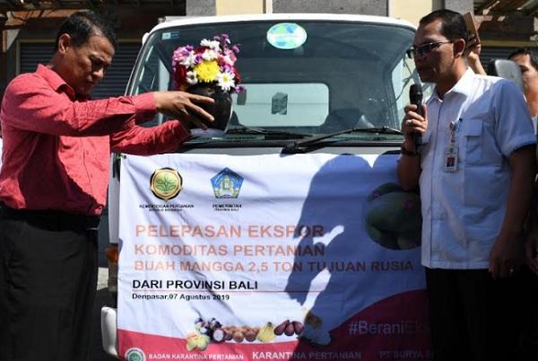 Menteri Pertanian Amran Sulaiman (kiri) melepas ekspor perdana 2,5 ton mangga harum manis dari Bali ke Rusia dan sejumlah produk lain ke beberapa negara. - Bisnis/Ema Sukarelawanto