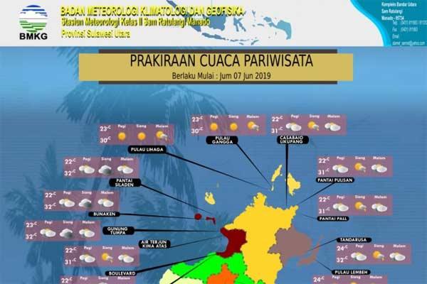 Peta cuaca destinasi pariwisata Sulut. - BMKG