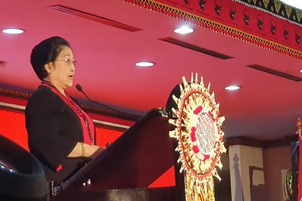Ketua Umum PDI Perjuangan Megawati Soekarnoputri saat berpidato dalam acara pembukaan Kongres Nasional V PDI Perjuangan di Denpasar Bali, Kamis (8/8/2019) - Istimewa