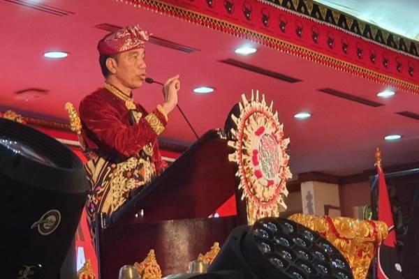 Presiden Joko Widodo saat berpidato pada Pembukaan Kongres Nasional V PDIP, di Bali, Kamis (8/8/2019). - Istimewa/Humas PDIP