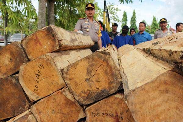 Kapolres Bojonegoro AKBP Wahyu Sri Bintoro memperlihatkan tersangka pengiriman dan penebangan kayu jati ilegal, di Bojonegoro, Jawa Timur, Selasa (23/1). - ANTARA/Aguk Sudarmo