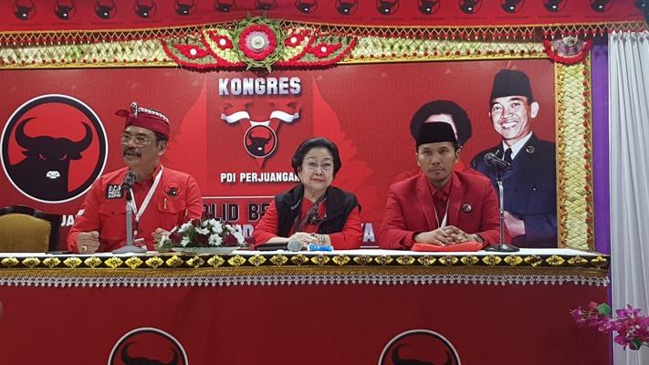 Ketua Umum PDI Perjuangan Megawati Soekarnoputri usai dikukuhkan sebagai pemimpin partai itu periode 2019-2024, Bali, Kamis (8/8/2019) - Bisnis/Lalu Rahadian