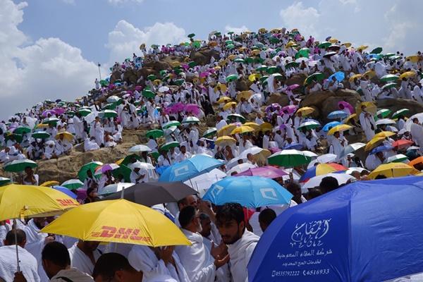 Umat muslim berdoa saat melaksanakan wukuf di Jabal Rahmah, Sabtu (10/8/2019). Jutaan jamaah haji seluruh dunia mulai berkumpul di padang Arafah untuk melaksanakan wukuf yang merupakan salah satu rukun haji. - ANTARA/Hanni Sofia