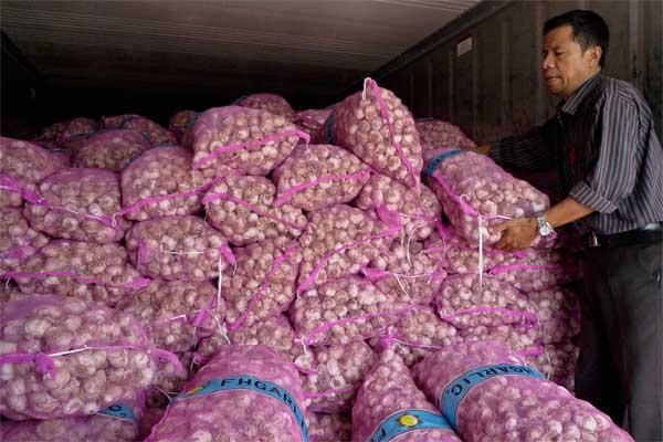 Pekerja menata tumpukan bawang putih saat operasi pasar bawang putih di Semarang, Jawa Tengah, Jumat (2/6). - Antara/R. Rekotomo