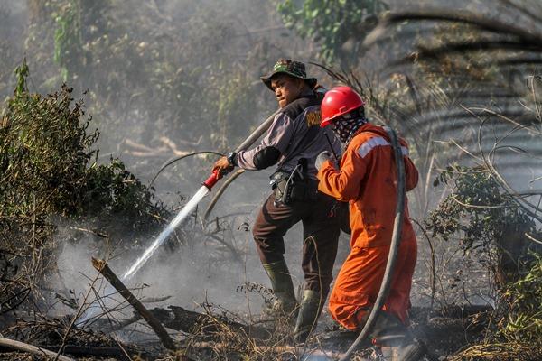 Petugas Kepolisian bersama Manggala Agni menyemprotkan air ke lahan gambut yang terbakar di Desa Parit Baru, Kampar, Riau, Kamis (11/07/2019). Panasnya cuaca dan kencangnya angin membuat kebakaran cepat meluas sehingga menyulitkan petugas untuk memadamkan kebakaran lahan gambut tersebut. - ANTARA / Rony Muharrman.