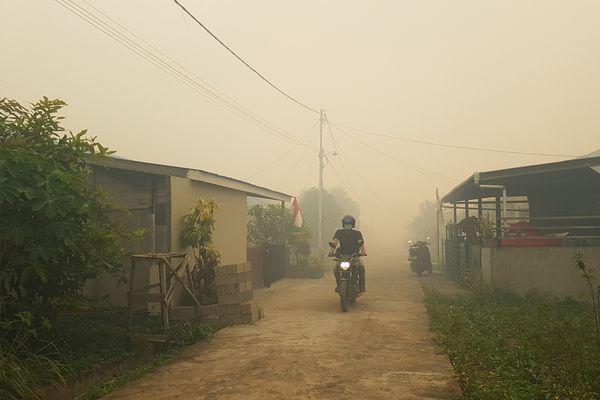 Seorang pengendara motor melintasi perumahan Residence Borneo Khatulistiwa yang diselimuti kabut asap di Sungai Raya, Kabupaten Kubu Raya, Kalbar, Sabtu (18/8). - ANTARA FOTO/Jessica Helena Wuysang