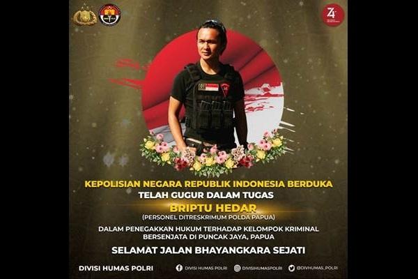Briptu Hedar : Banyak mengungkap kasus KKSB Papua - Istimewa