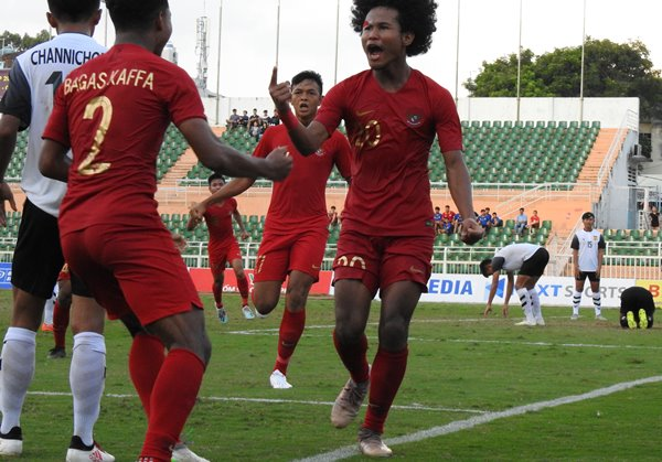 Penyerang sayap timnas Indonesia U-18, Bagus Kaffi (kanan) - PSSI