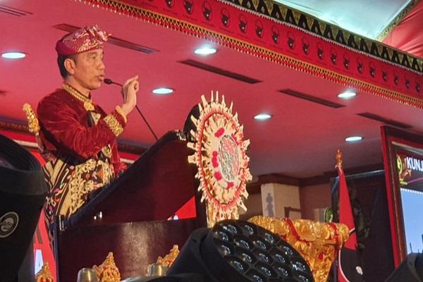 Presiden Joko Widodo saat berpidato di Pembukaan Kongres Nasional V PDIP, Bali, Kamis (8/8/2019) - Humas PDIP
