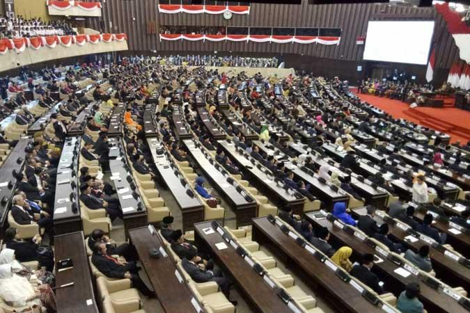 Suasana Sidang Tahunan Majelis Permusyawaratan Rakyat (MPR) 2019 di Kompleks Parlemen, Senayan, Jakarta, Jumat (16/8/2019)./JIBI - Bisnis/Dedi Gunawan