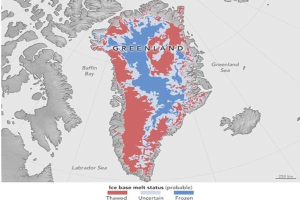 Perkiraan status pelelehan es dasar di Greenland antara 1993-2013. - NASA