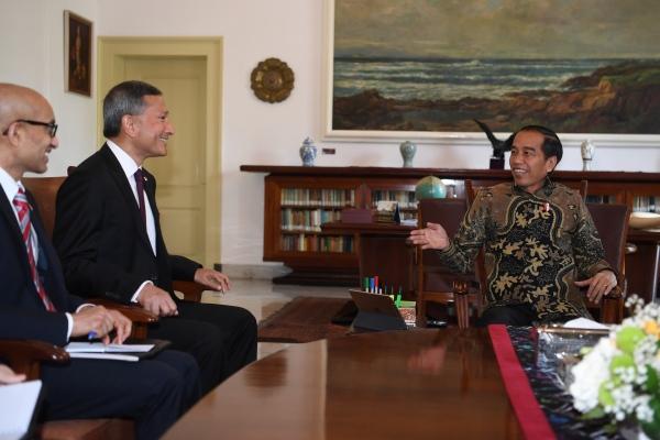 Presiden Joko Widodo bersama Menteri Luar Negeri Singapura Vivian Balakrishnan (tengah) dan Dubes Singapura Anil Kumar Nayar di Istana Bogor, Jawa Barat, Rabu (17/7/2019). - Antara/Wahyu Putro A