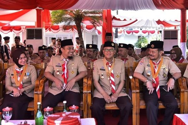 Ketua Kwartir Gerakan Pramuka Sulsel SYL, Gubernur Nurdin Abdullah, Wagub Andi Sudirman Sulaiman, Bupati Indah.