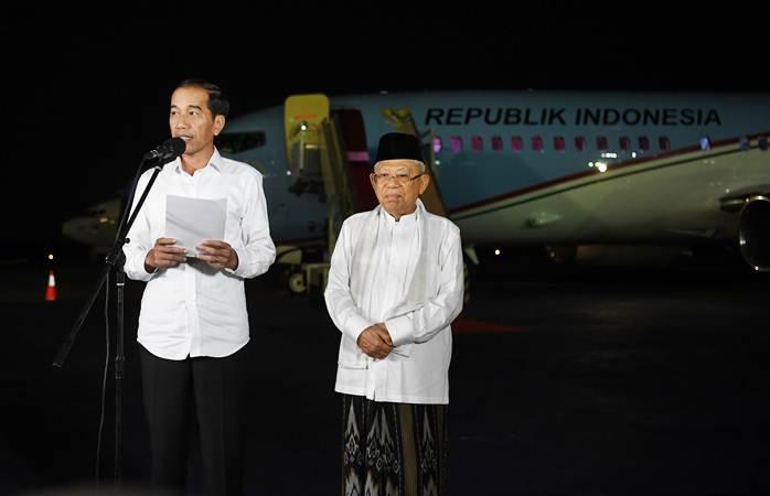 Presiden terpilih dan wakil presiden terpilih Joko Widodo (kiri) dan Ma'ruf Amin. - ANTARA/Wahyu Putro A