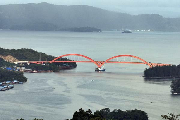 Jembatan Holtekamp di Jayapura, Papua yang selesai 95% pembangunannya, tampak dari ketinggian, Rabu (11/4/2018). - ANTARA/Yulius Satria Wijaya