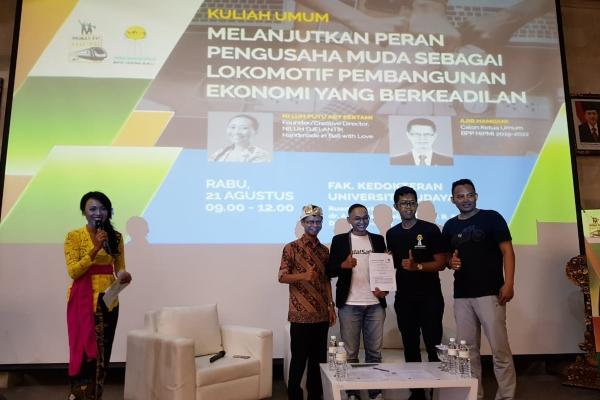 Penandatanganan Memorandum of Understanding (MoU) Kerja Sama Program Bisnis Waralaba dan Akses Permodalan antara Hipmi, ModalSaham, Baba Rafi Enterprise, dan Hipmi Hipmi Perguruan Tinggi (PT) Universitas Udayana (Unud) di Universitas Udayana, Bali, Rabu (21/08/2019). - Istimewa