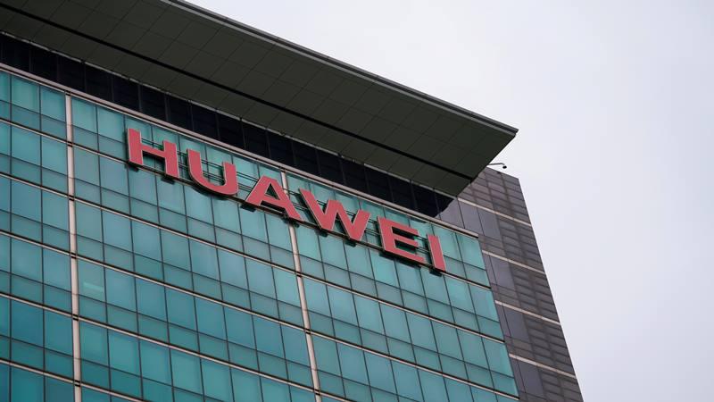Logo perusahaan Huawei terlihat di kantor pusat perusahaan di Shenzhen, Provinsi Guangdong, Cina 17 Juni 2019. - Reuters