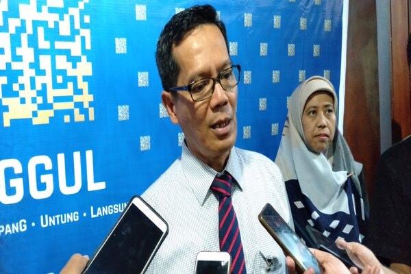 Kepala Kantor Perwakilan BI Jateng Soekowardojo saat memberikan keterangan kepada wartawan. - Bisnis/Alif N.