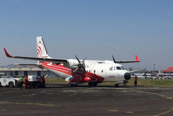 PT DI resmi menerbangkan pesawat flying test bed untuk pertama kalinya. - Bisnis/Dea Andriyawan