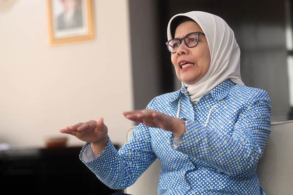 Direktur Utama PT Jasa Marga Desi Arryani menjawab pertanyaan dalam sesi wawancara, di Jakarta, Selasa (6/11/2018). - ANTARA/Akbar Nugroho Gumay