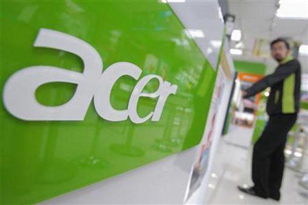 Logo Acer di salah satu pusat komersial di Taipei, Taiwan. - Reuters/Yi-ting Chung