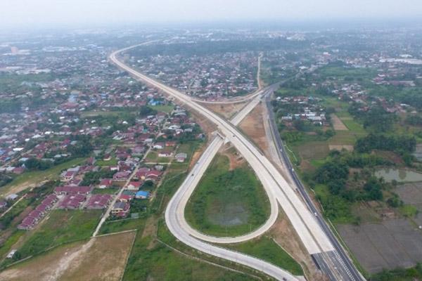 Ilustrasi: Jalan tol Medan-Kualanamu-Tebing Tinggi (MKTT) Seksi 1 Simpang Susun (SS) Tanjung Morawa-SS Parbarakan. - Istimewa/PT Jasa Marga