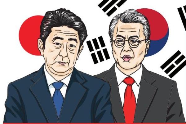 Perdana Menteri Shinzo Abe dan Presiden Moon Jae/in di Korea