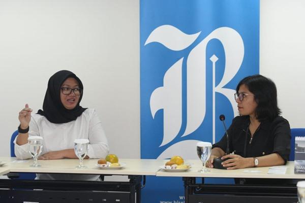 President Director TIKI Titi Oktarina bersama Redpel Bisnis Indonesia Maria Y Benyamin saat berkunjung ke redaksi Bisnis Indonesia, Senin (26/8/2019). BISNIS - Dedi Gunawan