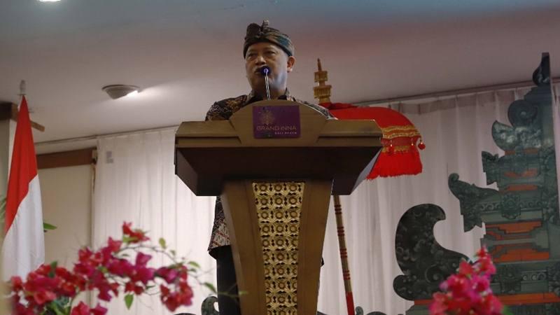 Menteri Riset, Teknologi, dan Pendidikan Tinggi (Menristekdikti), Mohamad Nasir saat pembukaan Rangkaian Kegiatan Ilmiah Peringatan Hari Kebangkitan Teknologi Nasional (Hakteknas) ke-24 Tahun 2019 di Sanur, Denpasar pada Senin (26/9/2019). JIBI/Bisnis - Sultan Anshori