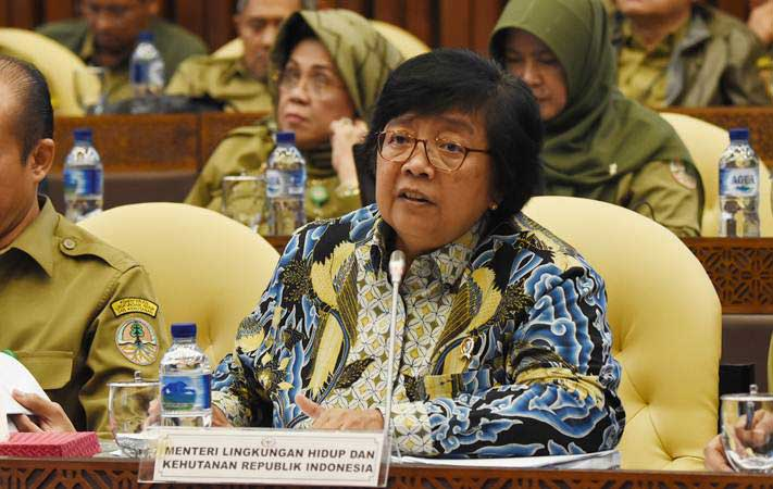 Menteri Lingkungan Hidup dan Kehutanan Siti Nurbaya Bakar (kanan) saat mengikuti rapat kerja dengan Komisi IV DPR di Kompleks Parlemen Senayan, Jakarta, Selasa (19/3/2019). - ANTARA/Indrianto Eko Suwarso