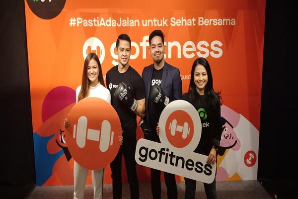 Gojek menggandeng platform olahraga Doogether meluncurkan layanan Go-Fitness, Rabu (28/8/2019). - Bisnis/Deandra Syarizka