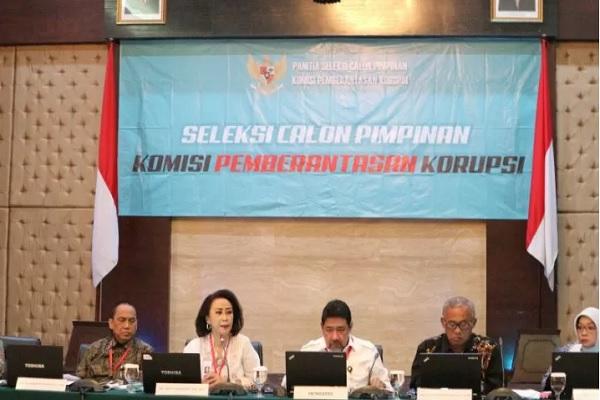Panitia seleksi calon pimpinan (pansel capim) KPK 2019 di gedung Sekretariat Negara Jakarta, Selasa (27/8/2019). - Antara