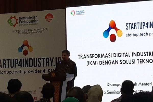 Menteri Perindustrian Airlangga Hartarto saat membuka Seminar Nasional Startup, Tech Provider 4 IKM di Jakarta, Jumat (30/8/2019). - Bisnis/Annisa S Rini