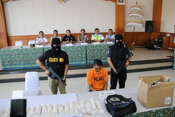 Tersangka berinisial AP ditangkap petugas gabungan Bea Cukai Ngurah Rai Bali karena mencoba menyeludupkan benih lobster sebanyak 17.192 ekor dengan nilai 2,6 miliar. Tersangka AP merupakan oknum petugas ground handling Bandara Internasional Ngurah Rai Bali. - Ist