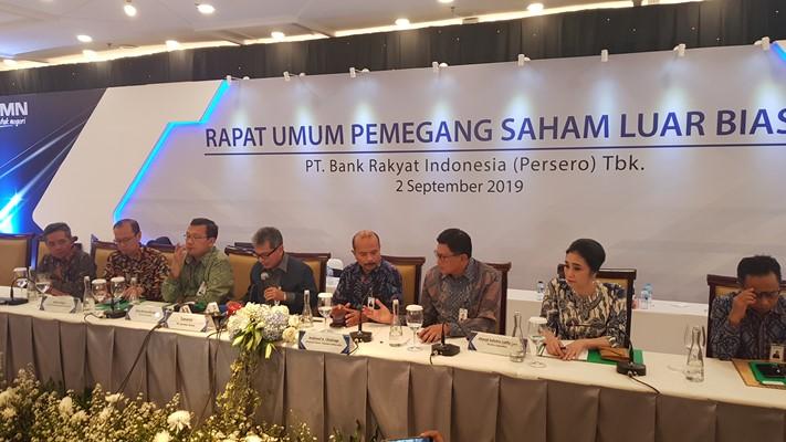 Pemaparan PT Bank Rakyat Indonesia (Persero) Tbk. seusai Rapat Umum Pemegang Saham Luar Biasa (RUPSLB), Senin (2/9/3019). - Bisnis/Lalu Rahadian