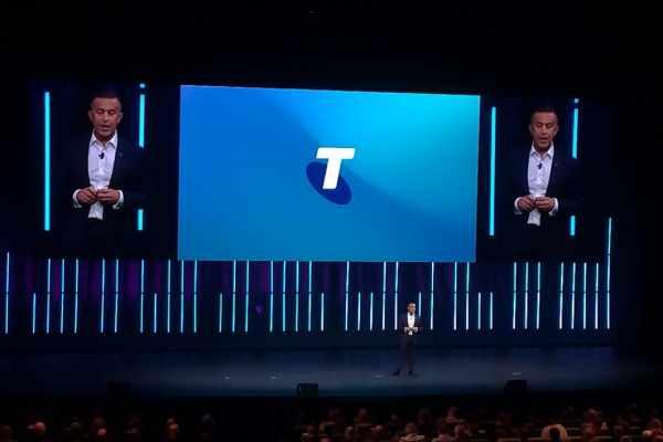Group Executive Telstra Enterprise Michael Ebeid saat memberi pemaparan dalam acara pameran teknologi tahunan Telstra Vantage 2019 di Melbourne Convention and Exhibition Center, Rabu (4/9/2019). - Achmad Aris