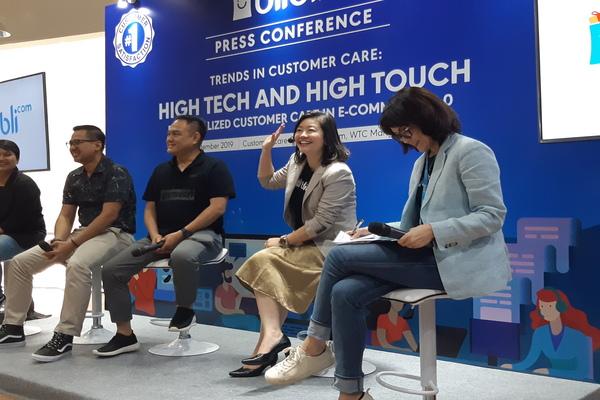 Lisa Widodo SVP of Operations and Product Management Blibli.com memaparkan soal solusi baru Blibli.com di Jakarta, Rabu (4/9/2019). - Bisnis/Leo Dwi Jatmiko