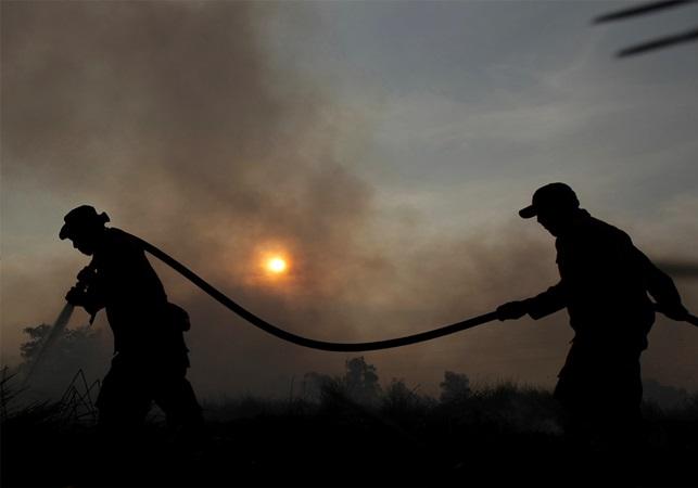 Petugas gabungan memadamkan api yang membakar lahan di Desa Muara Baru, Kabupaten Ogan Ilir, Sumatera Selatan, Sabtu (10/8/2019). Berdasarkan pantauan satelit milik Lembaga Penerbangan dan Antariksa Nasional (LAPAN) terdapat 441 titik api yang terdeteksi di sejumlah wilayah yang ada di Indonesia. - ANTARA / Mushaful Imam