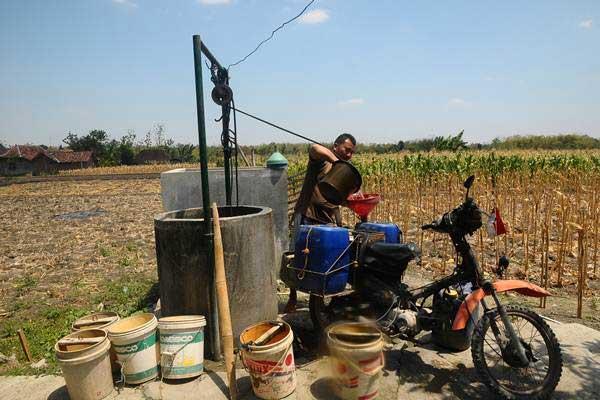 Warga mengambil air dari sumur sawah di Dusun Ngasem, Monggot, Gundih, Grobogan, Jawa Tengah, Senin (3/9/2018). - ANTARA/Yusuf Nugroho